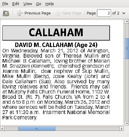 6cc78a575f9 Bagwells.com - Death Notice in the Washington Post March 23